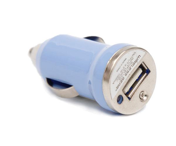 圆形蓝色单口车载充电器单USB接口点烟器插头车充